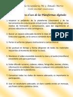 Reglamento Para El Uso de Plataformas Digitales