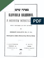 clavicula salomonis - a hebrew manuscript