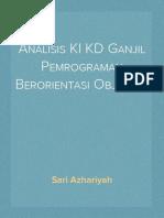 Analisis KI KD Ganjil Pemrograman Berorientasi Objek XII