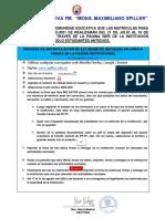COMUNICADO MATRÍCULAS 2020-2021