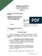 Pre-trial Brief of People v.  Quilacio 7610