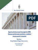 Aspecte privind procesul de prognoză al BNR