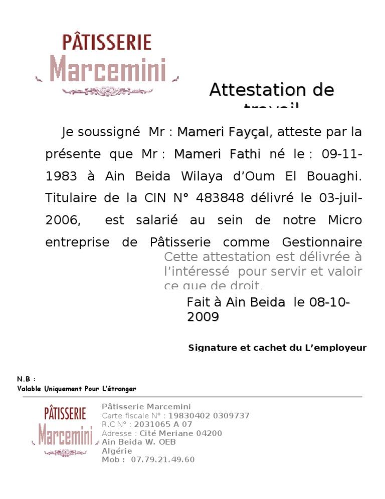 Exemple attestation de travail maroc word document online - Declaration de fin de travaux non faite ...