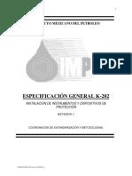 K-202 INSTALACION DE INSTRUMENTOS Y DISPOSITIVOS DE PROTECCION