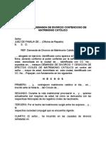 MODELO DE DEM.  DE DIVORCIO CONTENCIOSO DE MATRIMONIO CATÓLI