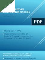 Agrarian reform efforts under marcos