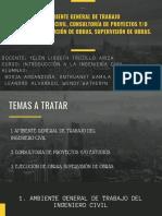 AMBIENTE GENERAL DE TRABAJO DEL INGENIERO CIVIL, CONSULTORÍA DE PROYECTOS Y_O ESTUDIOS - EJECUCIÓN DE OBRAS, SUPERVISIÓN DE OBRAS.