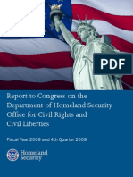 Report to Congress on the Department of Homeland Security Offi ce for Civil Rights and Civil Liberties Fiscal Year 2009 and 4th Quarter 2009