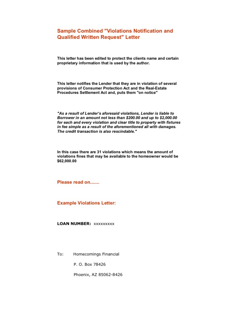 Sample Mortgage Violations Letter Truth In Lending Act Loans