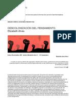 DESCOLONIZACIÓN DEL PENSAMIENTO. Elizabeth Alves – Pensamiento Crítico XXI