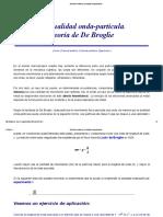 Dualidad onda-partícula. Teoría de De Broglie