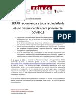 SEPAR NP Recomienda Mascarillas a Toda La Ciudadanía (24 Ago 2020)