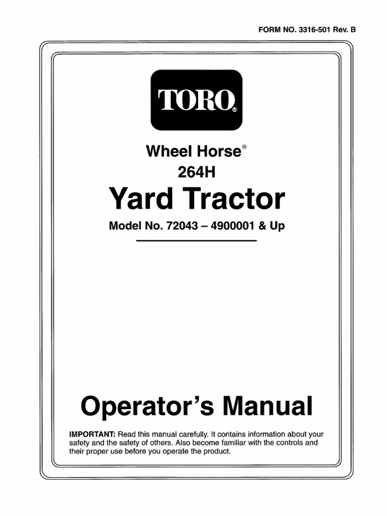 Toro Wheel Horse 264-H owners manual on