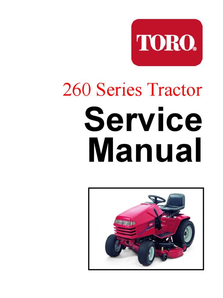 toro wheelhorse 260 series service manual screw nut hardware rh es scribd com Toro Riding Mower Wiring Diagrams Toro Mower Wiring Diagram