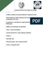 Tipos de Muestro en Minería y Metalurgia Act. 2 (Jesus Vazquez Gutierrez).