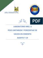 Lab 8. PESO UNITARIO Y PORCENTAJE DE VACIOS EN CEMENTO.docx