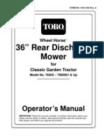 Toro WheelHorse 36 Inch Rear Discharge Mower Owners Manual