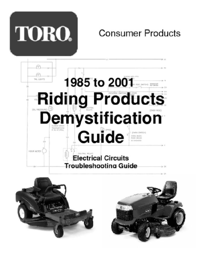 toro wheelhorse demystification electical wiring diagrams for all rh scribd com Toro Riding Mower Wiring Diagrams Toro Z Master Wiring Diagram