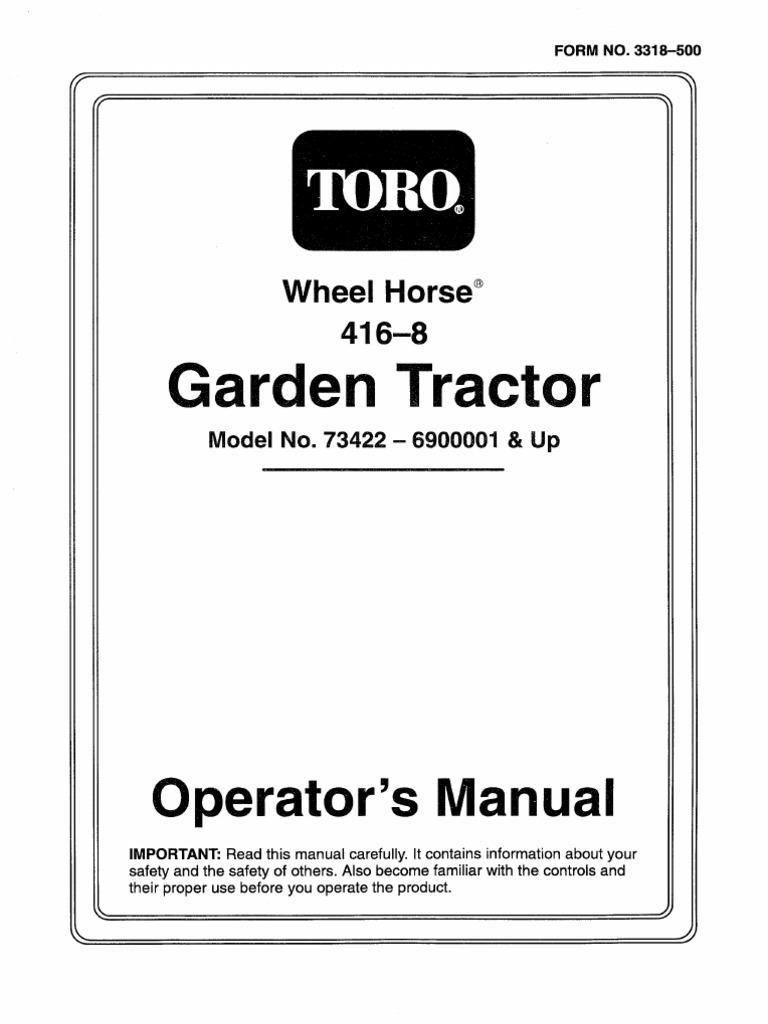 toro wheel horse 416 8 operators manual rh scribd com Wheel Horse 520H Manual Wheel Horse Service Manuals
