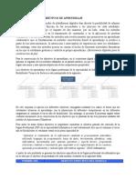 DEFINICION DE LOS OBJETIVOS DE APRENDIZAJE