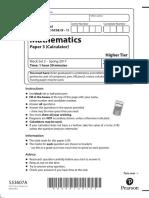 GCSE 1MA1 Paper 3H (Mock Set 2)