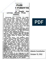 October 1912 Atlanta Constitution article about Forsyth racial cleansing