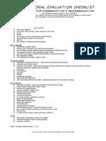 Personal Evaluation Checklist