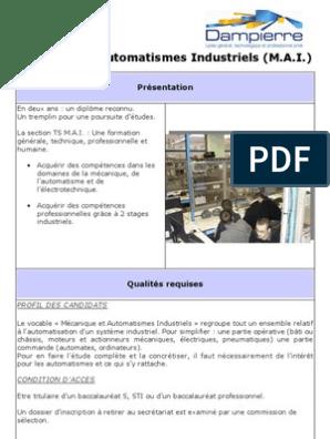 Mécanique Automatismes Industriels M A I Présentation
