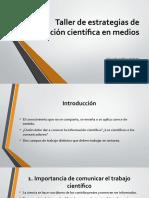 Taller de estrategias de divulgación científica en medios