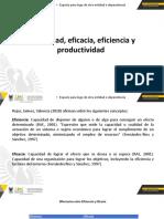 Eficiencia, eficacia, efectividad, productividad