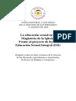 Carta Pastoral - La educación sexual en el Magisterio de la Iglesia
