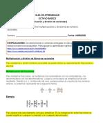 GUÍA DE APRENDIZAJE (8) (multiplicación y division de racionales) semana del 18 al 22 de mayo