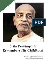 Srila Prabhupada Remembers His Childhood