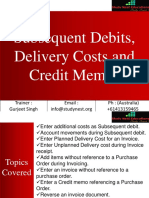Subsequent Debit, Delivery Cost and Credit Memo