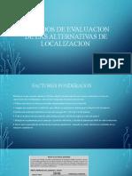 METODOS DE EVALUACION DE LAS ALTERNATIVAS DE LOCALIZACION