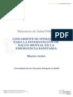 Lineamientos operativos Salud Mental Covid -19
