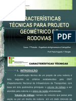 Caracteristicas Tecnicas para Projeto de Rodovias