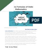 16 Sutra Formulas of Vedic Mathematics