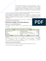 Exercices Bilan financier