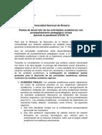 Pautas de desarrollo de las actividades académicas CORONAVIRUS