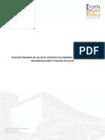 Atención Primaria de Salud en contexto de pandemia por SARS-CoV-2, recomendaciones a equipos de salud