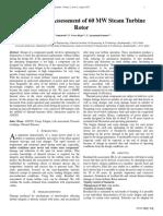 Residual Life Assessment of 60 MW Steam Turbine Rotor