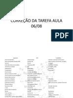 CORREÇÃO DA TAREFA AULA 06