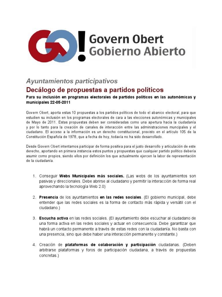 Decalogo Go Ayuntamientos | Elections | Voting