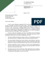 DOJ CRIPA Request For COVID-19 Nursing Home Death Data Letter to Michigan Governor Gretchen Whitmer 08-26-2020