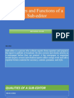 Qualities and Functions of a Sub-editor