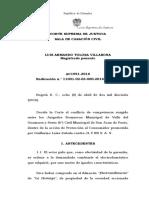 a) C. S. de J. Conflicto de competencias juzgados primera instancia - es competente juez donde se da la relación de consumo - EDC art. 58 - 2016