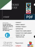 Functions of nouns quiz