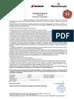 Certificat garantie Tondach
