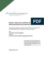 Analise e aplicacao do metodo de dimensionamento de pavimentos da AASHTO